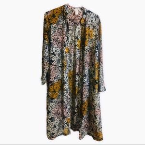 H&M Conscious Floral Duster Tunic Blouse Sheer 70s